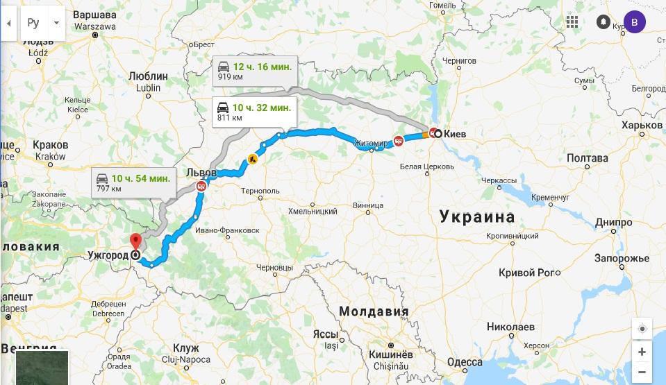Маршрут Такси Киев Ужгород